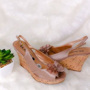 CL by Laundry Satin Cork Wedge Sandals